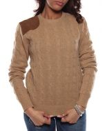 RALPH LAUREN CLASSIC CABLE C39 IVEYE W5614 CAMEL maglione donna