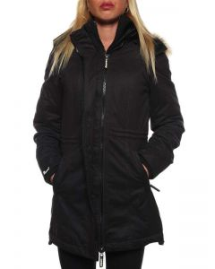 SUPERDRY MICROFIBRE TALL-WINDPARKA G50LY036F1 NERO giacca invernale donna