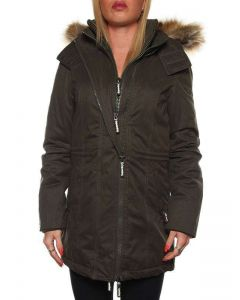 SUPERDRY MICROFIBRE TALL-WINDPARKA G50LY036F1 VERDE MILITARE giacca invernale donna