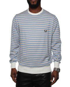 FRED PERRY CREW NECK STRIPED 30412135 WHITE / BLUE / BROWN maglione leggero uomo