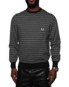 FRED PERRY CREW NECK STRIPED 30412135 BLACK/GREY/WHITE maglione leggero uomo