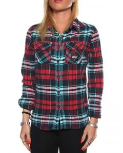 SUPERDRY MILLED FLANNEL SHIRT G40LE002 CHERRY CHECK AQUA camicia donna
